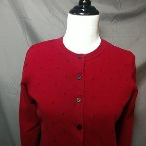 Karen Scott cardigan, burgundy, size medium